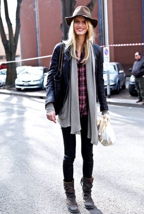 plaid-shirt-wide-brim-hat-flannel-shirt-black-leather-moto-jacket-grey-cardigan-black-jeans-fall-layers-weekend-via-lemademoiselleuk-tumblr-com_