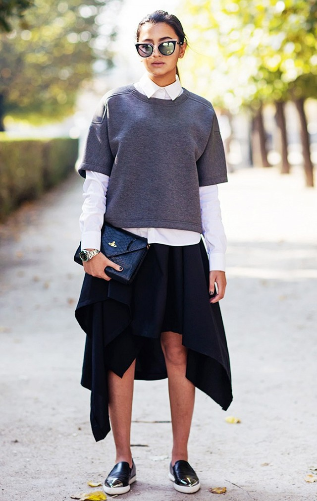 uneven-hemline-grey-fall-layers-hankerchief-skirt-loafers-stockholm-street-style-fall-work-outfits